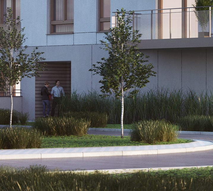 Osiedle Przystań apartamenty w Giżycku wizualizacja teren zielony