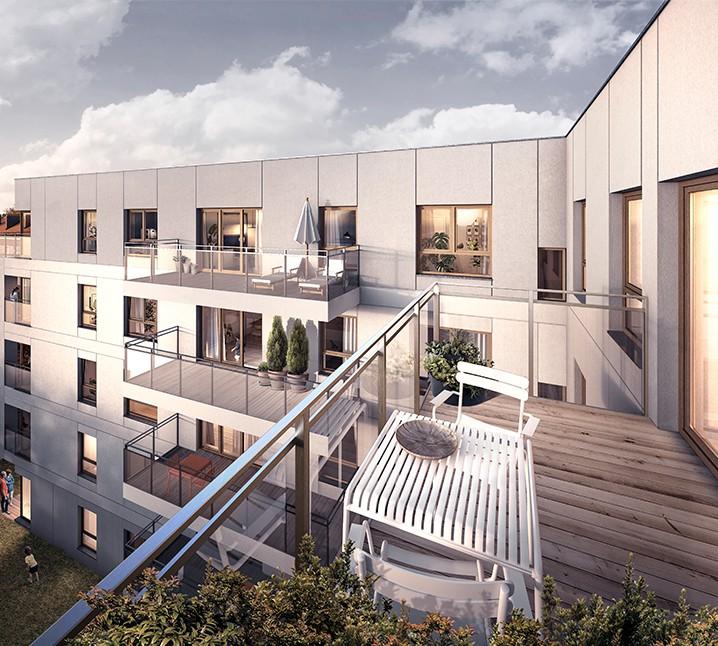 Osiedle Koszarova apartamenty w Giżycku wizualizacja z balkonu