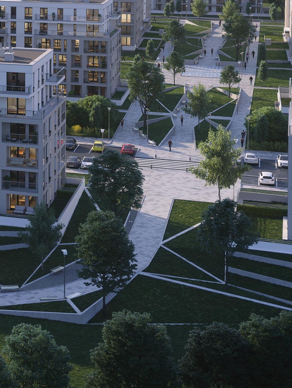 Osiedle Sobola Biel w Suwałkach wizualizacja terenów zielonych